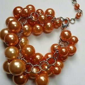 Jewelry - Cluster of orange pearl bracrlet